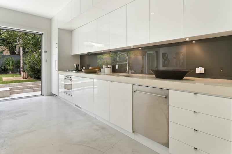 Modern coloured glass splashback Gold Coast