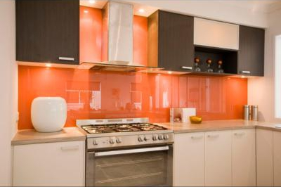 Orange painted glass splashback Runaway Bay