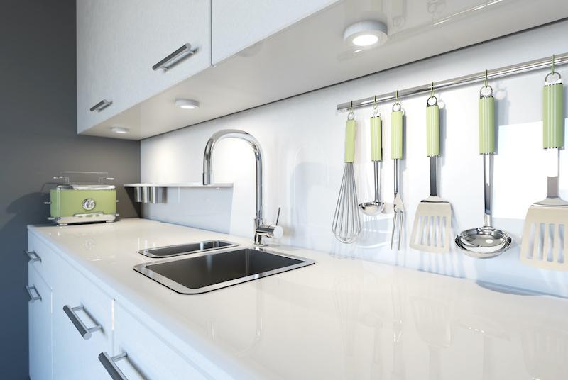 White glass splashback kitchen Gold Coast