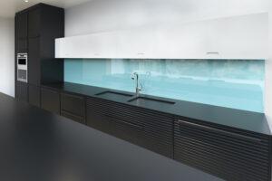 modern blue coloured glass splashback gold coast