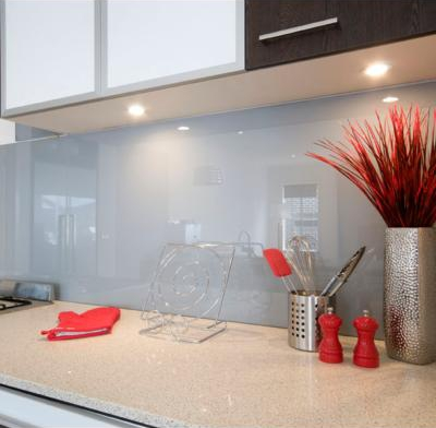 white glass splashback kitchen Burleigh